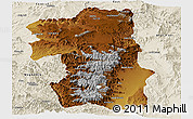 Physical Panoramic Map of South, shaded relief outside