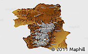 Physical Panoramic Map of South, single color outside