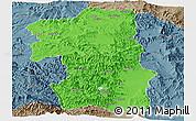 Political Panoramic Map of South, semi-desaturated
