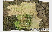 Satellite Panoramic Map of South, darken