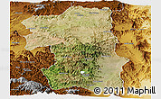Satellite Panoramic Map of South, physical outside