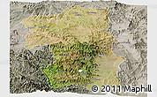 Satellite Panoramic Map of South, semi-desaturated