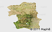 Satellite Panoramic Map of South, single color outside