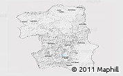 Silver Style Panoramic Map of South, single color outside