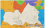 Shaded Relief 3D Map of West, political outside