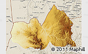 Physical Map of West, shaded relief outside