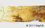 Physical Panoramic Map of West