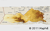 Physical Panoramic Map of West, shaded relief outside