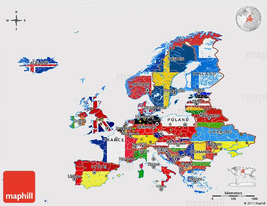 High Resolution Map Of Europe.Flag 3d Map Of Europe