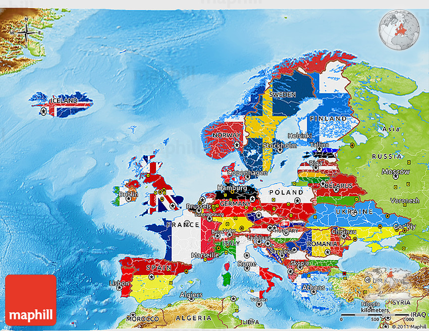 Flag D Map Of Europe Physical Outside - Europe physical map