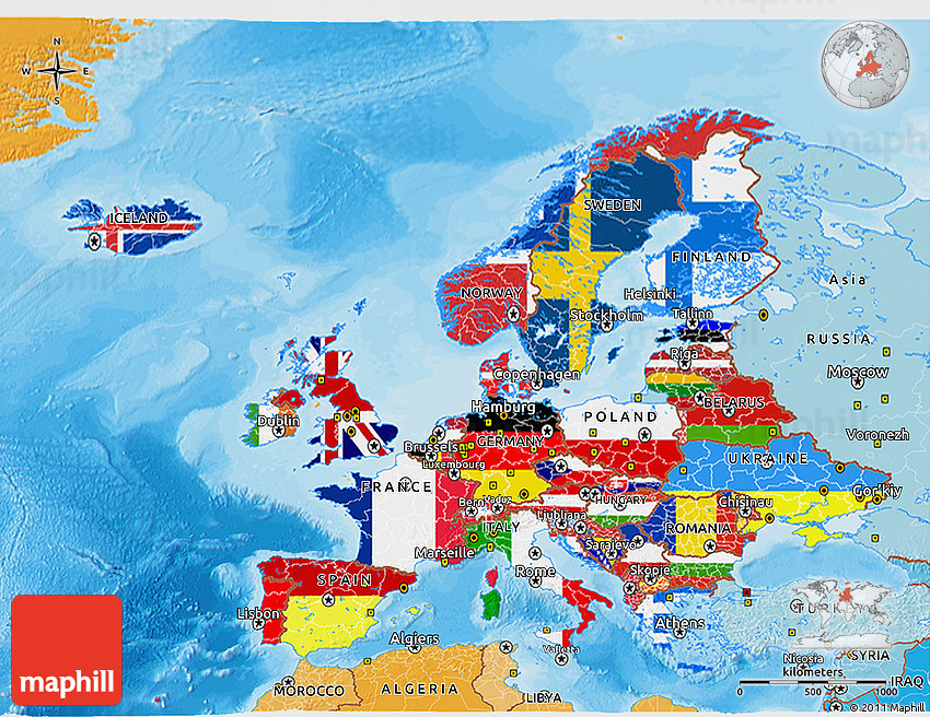 Flag 3d map of europe political shades outside 2d gumiabroncs Image collections