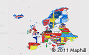 Flag 3D Map of Europe
