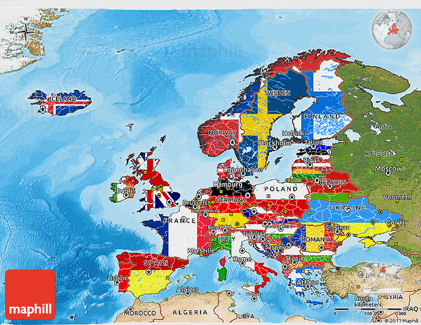Flag D Map Of Europe Satellite Outside Bathymetry Sea - Europe satellite map