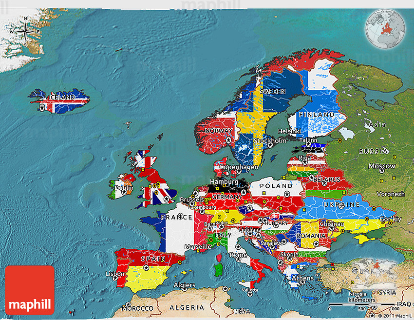 Flag D Map Of Europe Satellite Outside - Europe satellite map