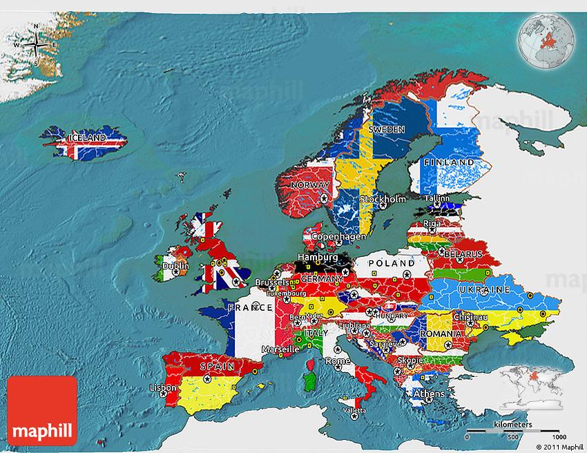 Flag 3D Map of Europe, single color outside, satellite sea