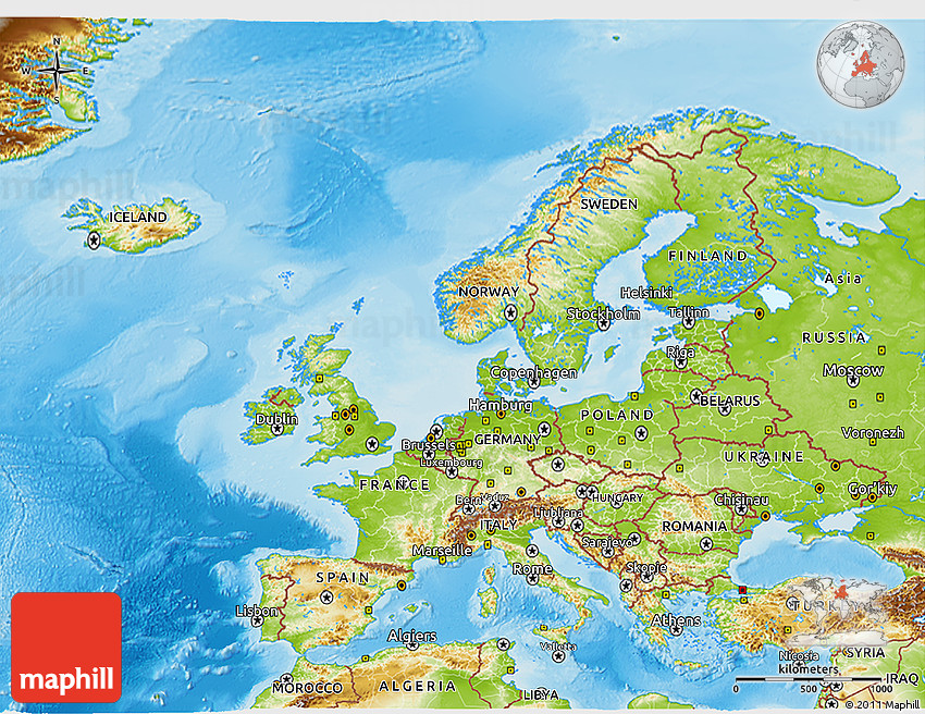 Physical 3D Map of Europe