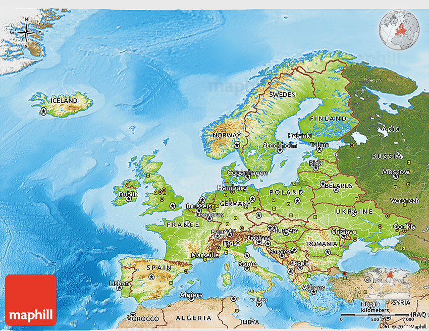 Physical D Map Of Europe Satellite Outside Shaded Relief Sea - Europe satellite map