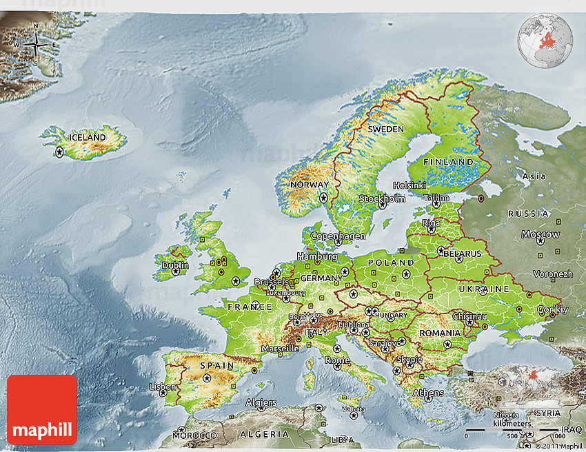 Physical 3D Map of Europe semi desaturated