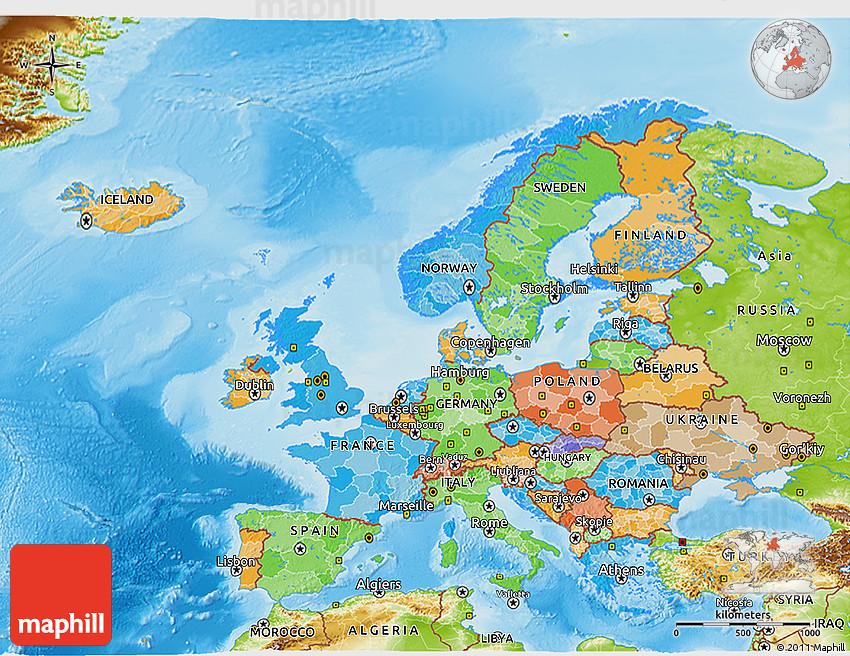 Political 3D Map of Eu...