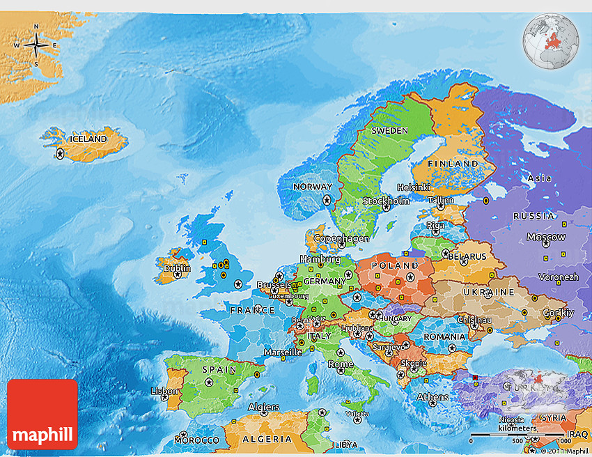 Political 3D Map of Europe