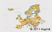 Political Shades 3D Map of Europe, cropped outside