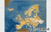 Political Shades 3D Map of Europe, darken