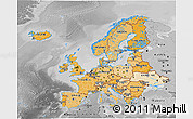 Political Shades 3D Map of Europe, desaturated