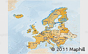 Political Shades 3D Map of Europe, lighten