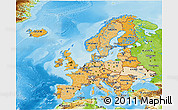 Political Shades 3D Map of Europe, physical outside