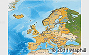 Political Shades 3D Map of Europe, satellite outside, bathymetry sea
