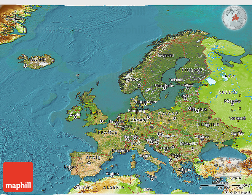 Satellite D Map Of Europe Physical Outside Satellite Sea - Europe satellite map
