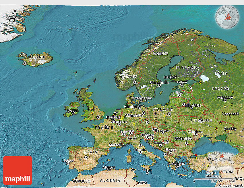 Satellite D Map Of Europe - Europe satellite map