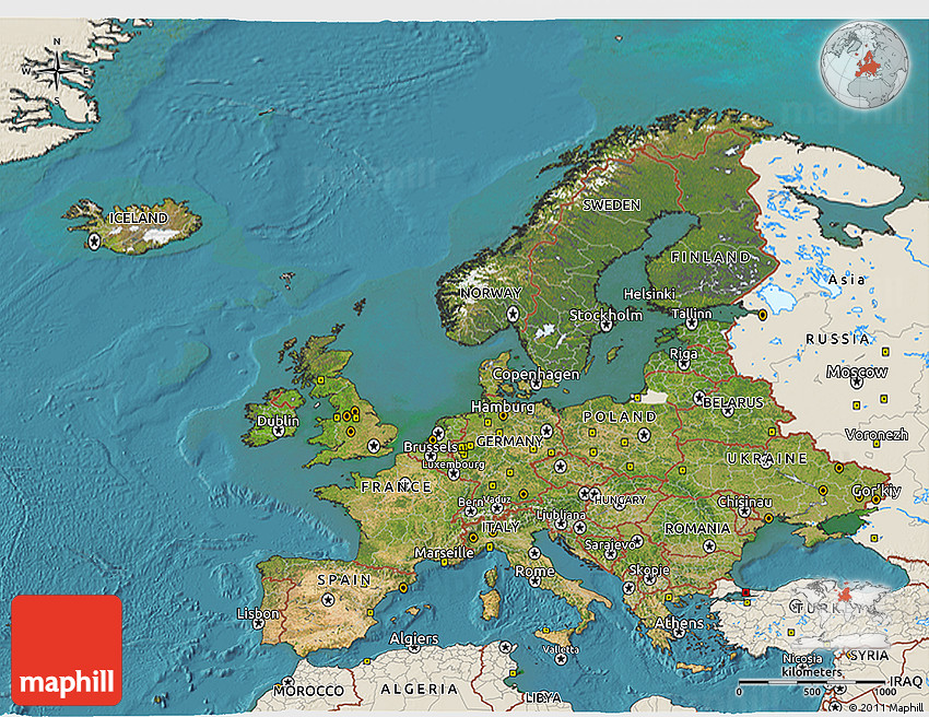 Satellite 3D Map of Europe, shaded relief outside, satellite sea