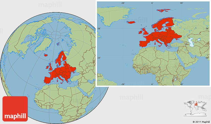 savanna style location map of europe
