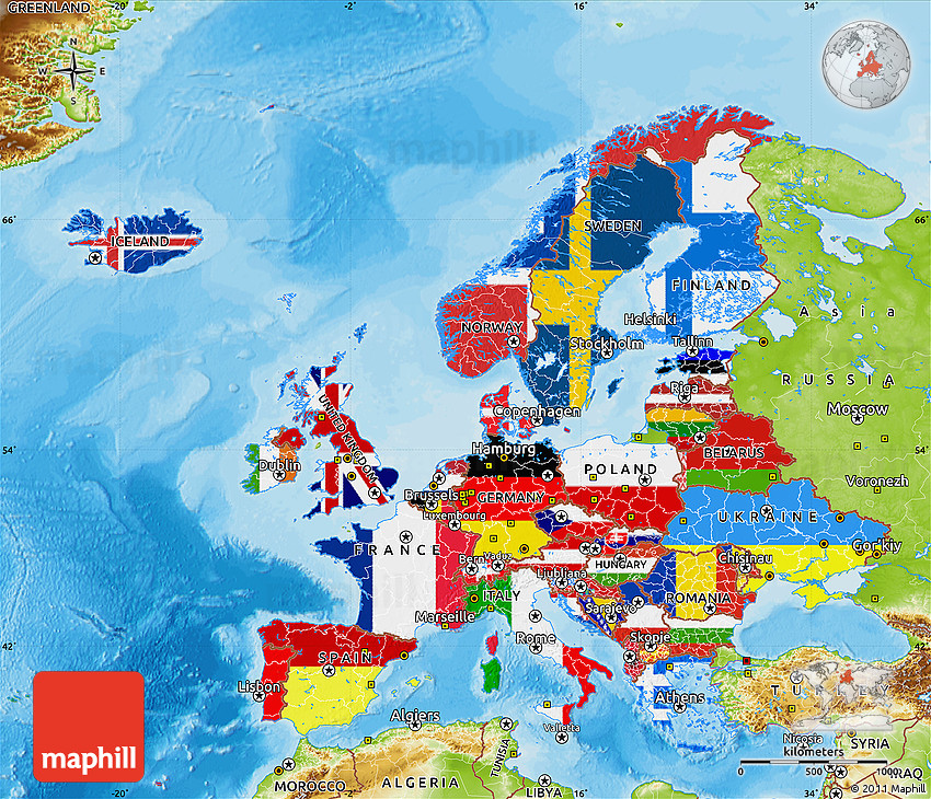 Flag Map Of Europe, Physical Outside, Bathymetry Sea