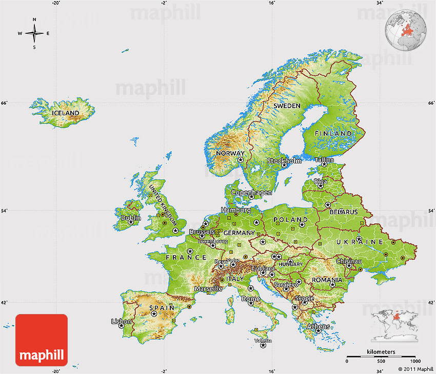 Physical Map of Europe cropped outside
