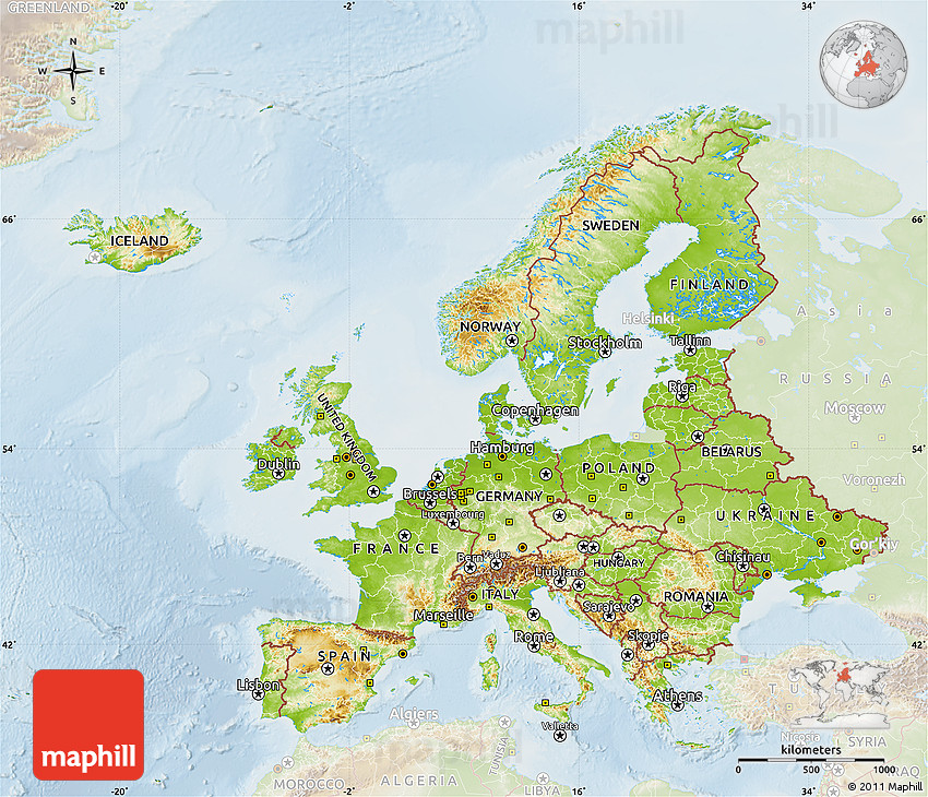 Physical Map of Europe, lighten