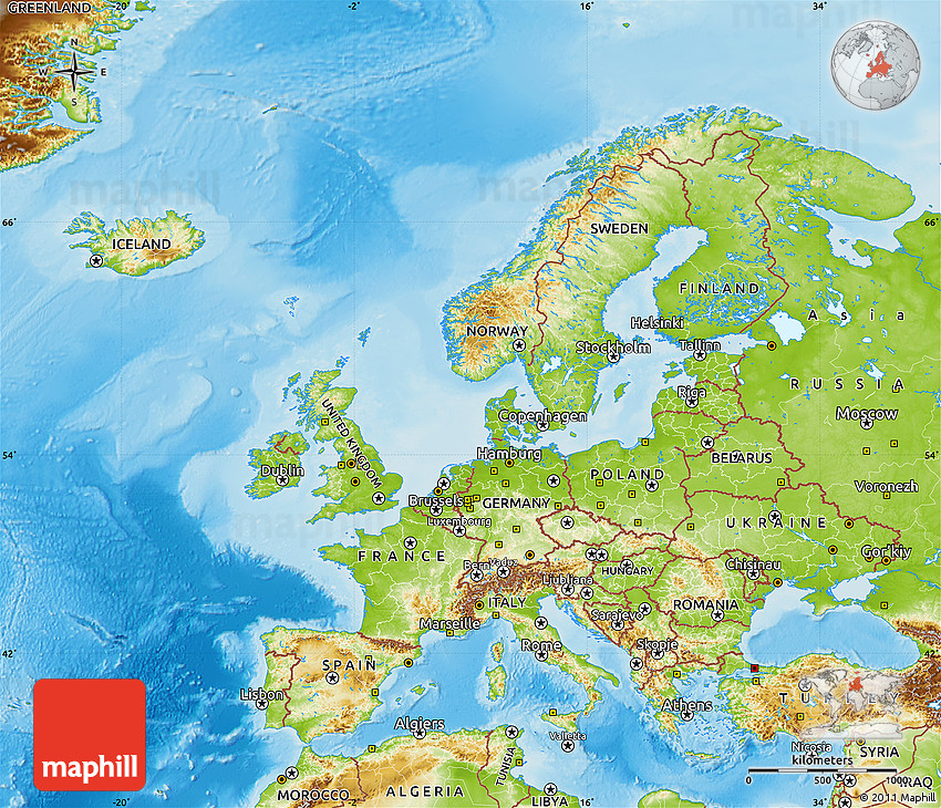 Physical Map Of Europe - Europe physical map