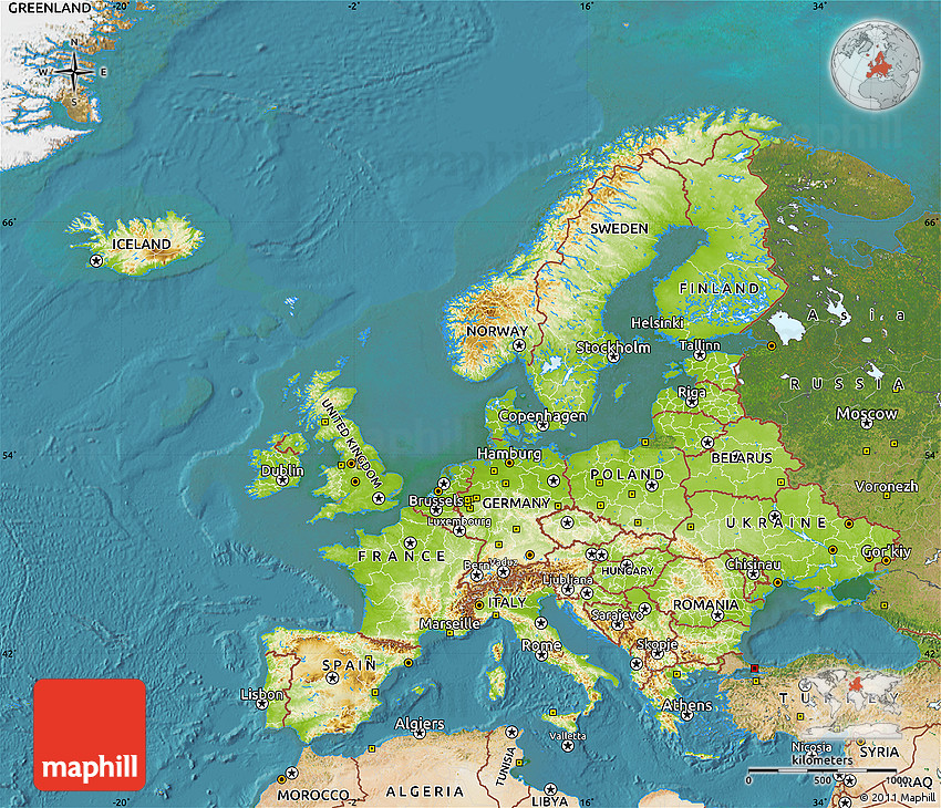 Physical Map of Europe satellite outside