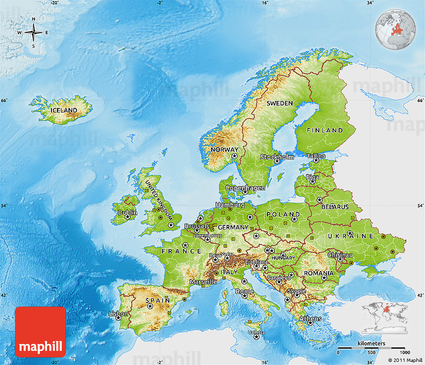 Physical Map of Europe, single color outside