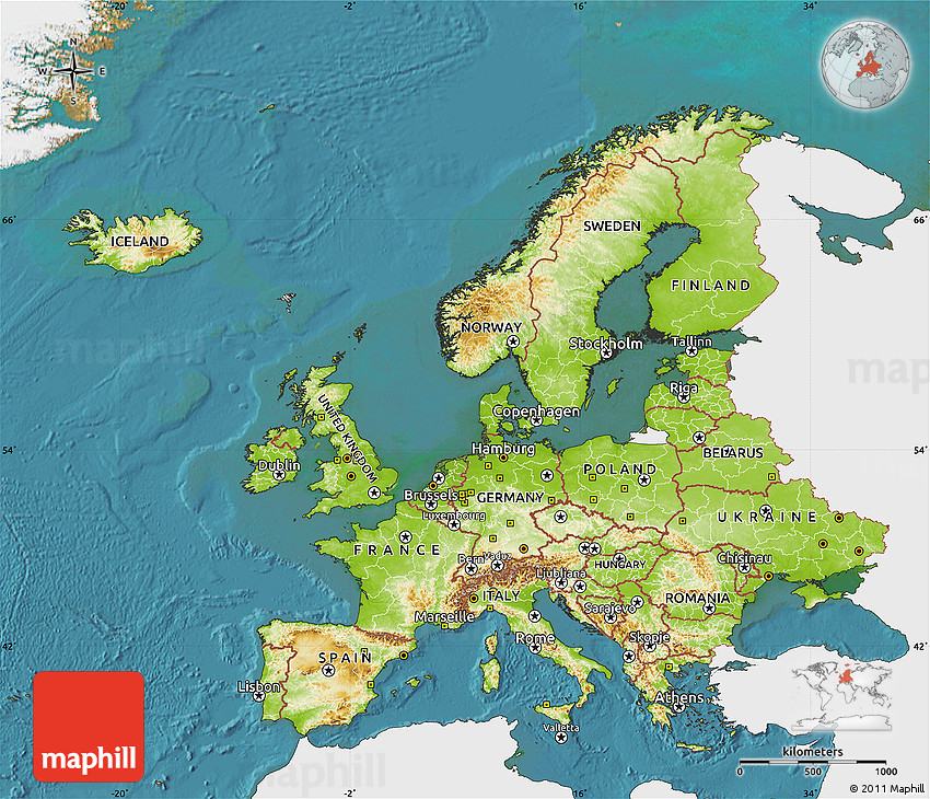 Physical Map of Europe, single color outside, satellite sea