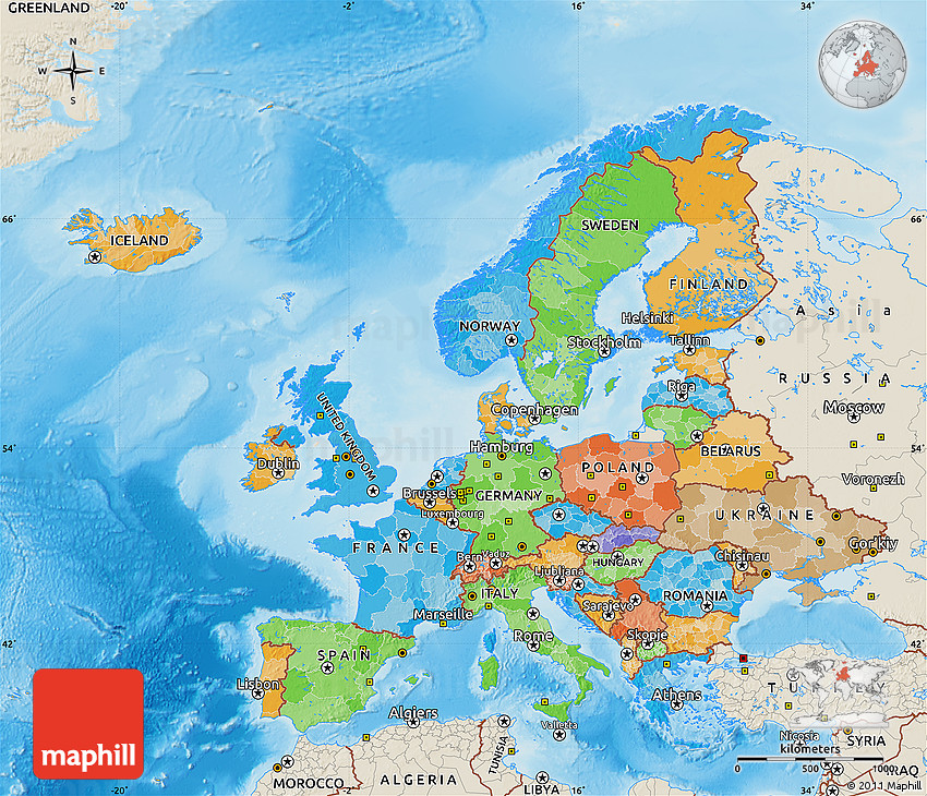 Political Map Of Europe, Shaded Relief Outside