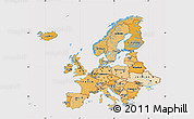 Political Shades Map of Europe, cropped outside