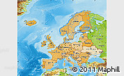 Political Shades Map of Europe, physical outside