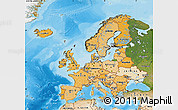 Political Shades Map of Europe, satellite outside, bathymetry sea