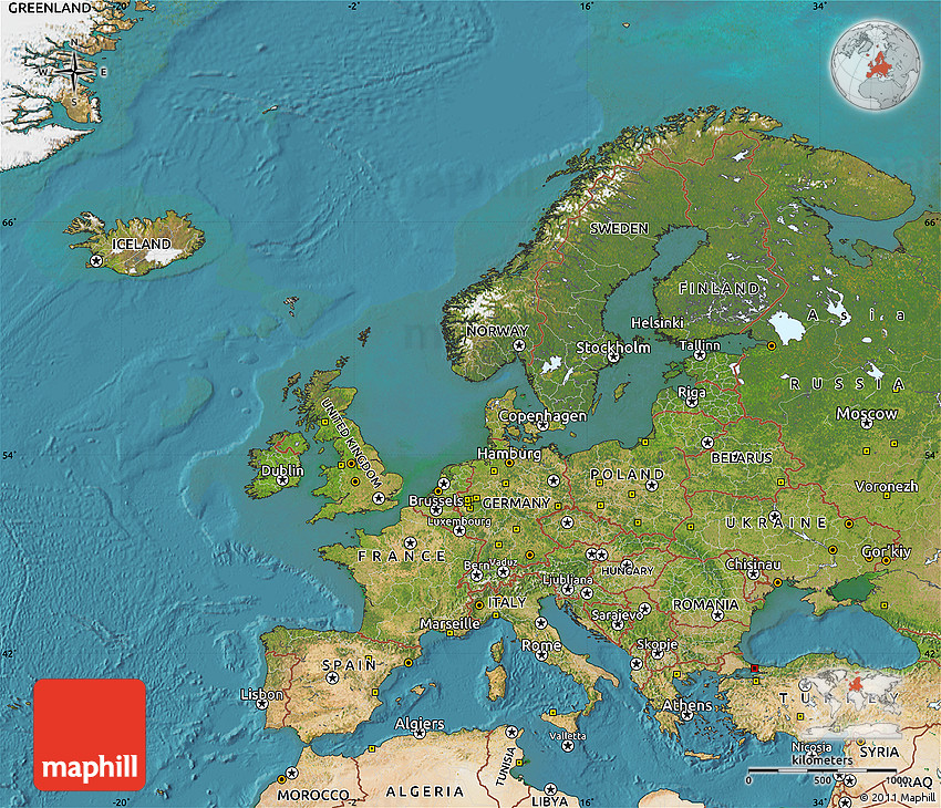 Satellite Map Of Europe - Europe satellite map