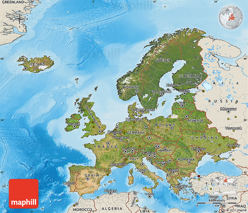 Europe Physical Map Rivers