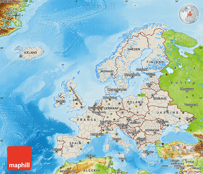 Shaded Relief Map of Europe physical outside