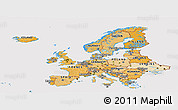Political Shades Panoramic Map of Europe, cropped outside