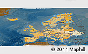 Political Shades Panoramic Map of Europe, darken